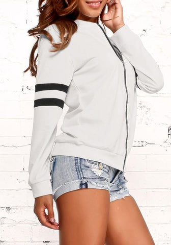 White Striped Print Zipper Long Sleeve Fashion Jacket