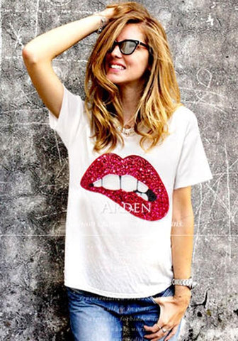 Red Cartoon Sequin Round Neck Casual T-Shirt