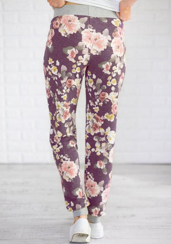 Red Floral Print Pockets Drawstring Waist Sports Long Pants