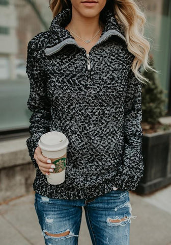 Black-White Patchwork Pockets Zipper High Neck Long Sleeve Casual Pullover Sweater