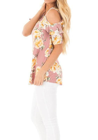 Pink Floral Print Cut Out Off-shoulder Ruffle Oversize Sweet T-Shirt