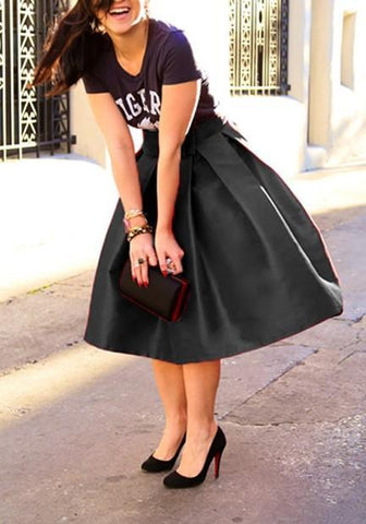 Black Pleated Irregular Bow High-Low Tutu High Waisted Party Skirt
