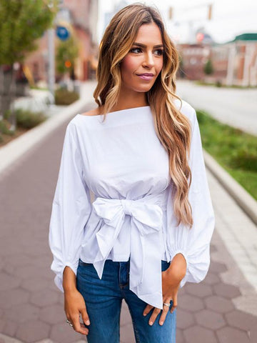 Bow-embellished Belted Blouses&Shirts Tops