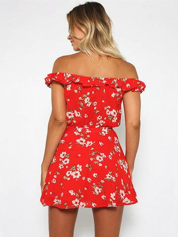 Floral Off Shoulder Tops And Skirt Bottoms