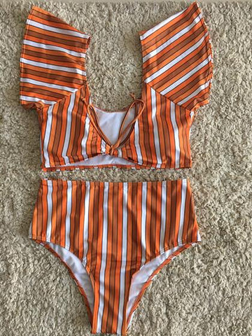 Shoulder Off High waisted Bikini Set