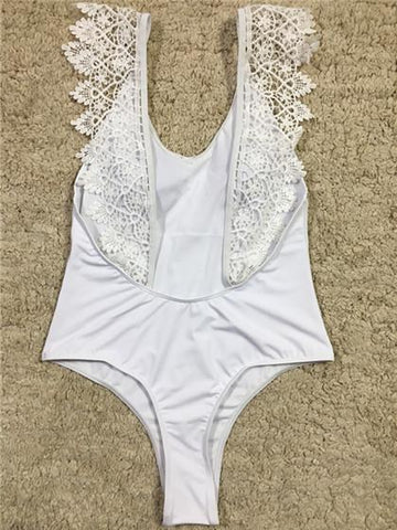 Cute Wedding Collection Lace White Bikini Set