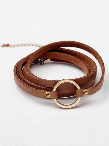 Simple Leather Alloy Black Bracelet
