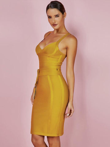 Bandage Dress New Arrivals Summer Yellow Bodycon Dress V Neck Spaghetti Strap Autumn Party Bandage Dress