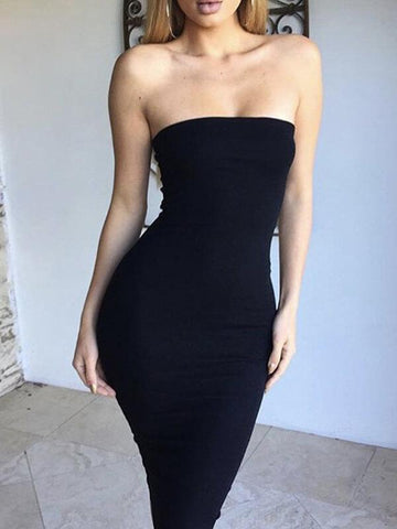 Off Shoulder Strapless Sexy Women Dress Sleeveless Straight Long Bodycon Dress Backless Casual Autumn Party Dress