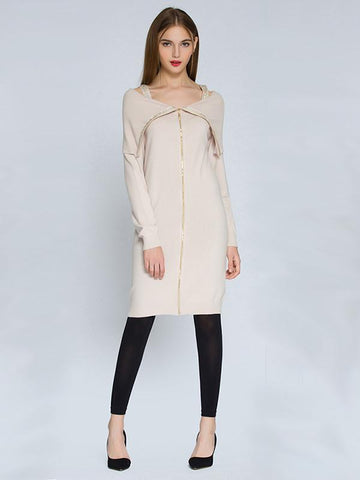 Elegant Solid Color with Thick Straps and Zipper Long Bodycon Sweater Dress