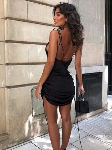 Women Solid Spaghetti Straps Backless Sleeveless Sexy Dresses Bottom Length Adjustable Ladies Casual Dress