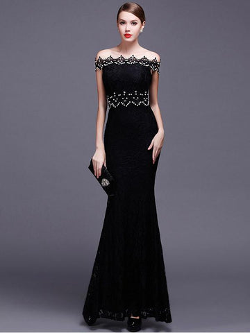 Elegant Lace Off Shoulder Elastic Mermaid Dress Evening Dress