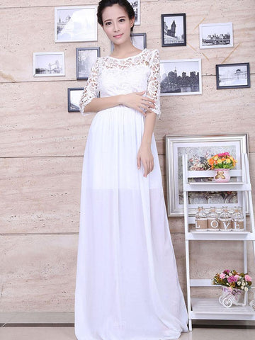 Fashion Lace Half Sleeve Round Neck Maxi Dress