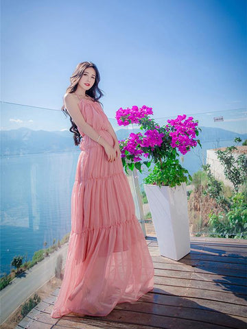 Chiffon Halterneck Backless Bohemia Maxi Dresses