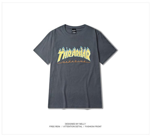 ZICO Magazine Flame Logo Thrasher Mag Flame Street Wear Lovers T-Shirt