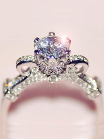 Desiged Engagement Rings Platinum Plated