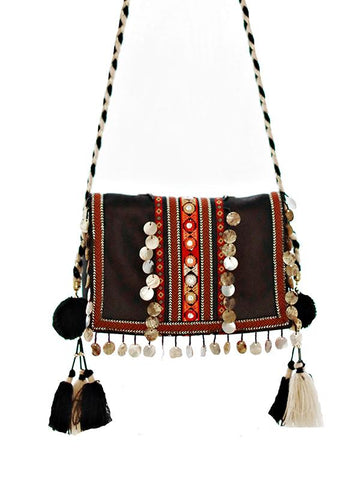 Bohemia Tasseled&Sequined Decorated Sling Bag