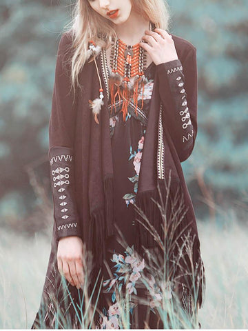 Tasselled Asymmetric Embroidered Cardigan Tops