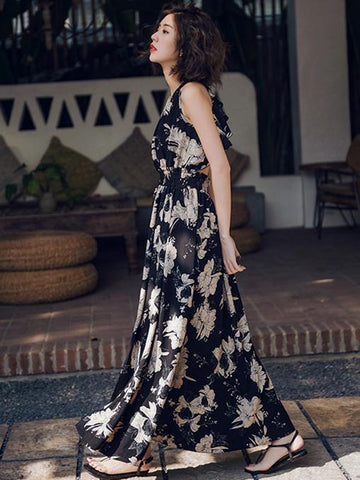 Bohemia Floral Falbala Backless Maxi Dress