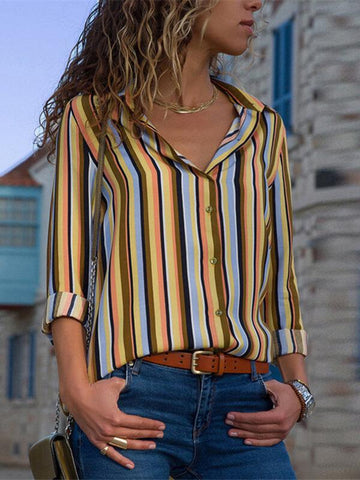 Women Blouses Fashion Long Sleeve Turn Down Collar Office Shirt Leisure Blouse Shirt Casual Tops Plus Size Blusas Femininas