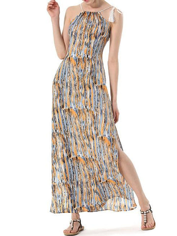 In Stock Straps Sleeveless Off-Shoulder Bohemian Beach Dress