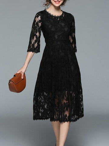 3/4 Sleeves Lace Hollow Midi Dress