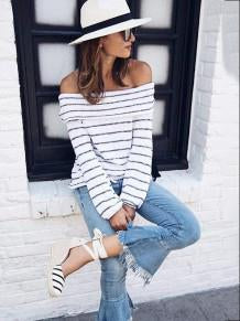 Off-the-shoulder Striped Blouses&Shirts Tops