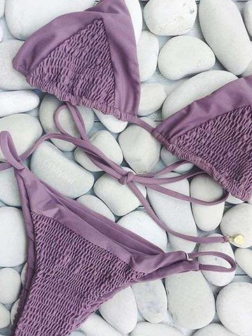 Beach Dream Bandage Tie Solid Color  Bikini Set