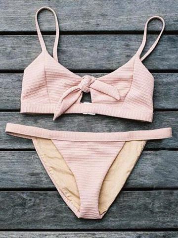 Sweet Kiss Tie Solid Color Bikini Set