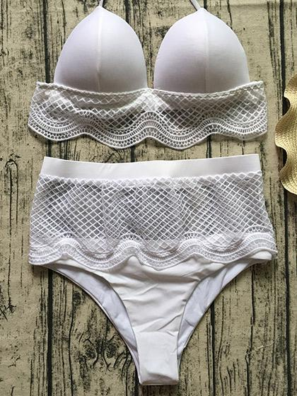 Pull Me Closer Mesh Lace White High Waist Bikini Set