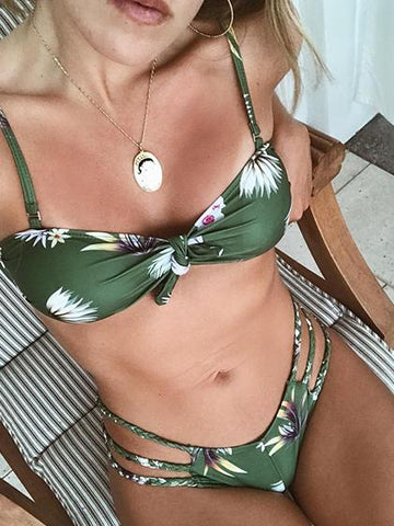 Just Watch Me Tie Floral Print Bikini Set