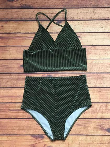 Beach Babe Army green Corduroy Solid Color Bikini Set