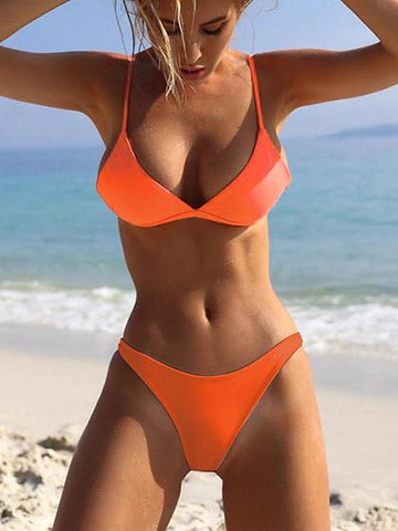 Fun In The Sun bandage Orange Bikini Set