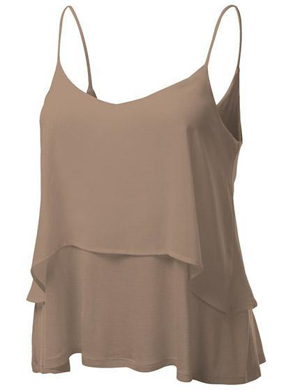 Cute Sleeveless Solid Color Chiffon Top Camisole