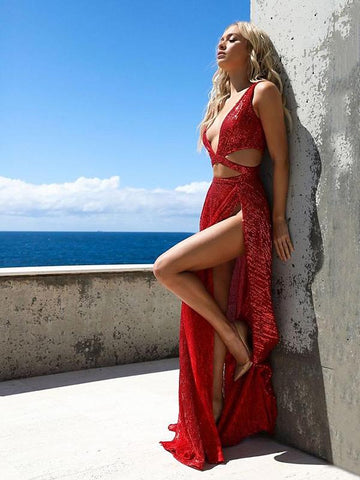 Deep V-neck Sleeveless Split-side Maxi Dress