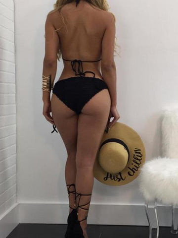 Sexy Bandage Weave Solid Color Bikini Cover Up