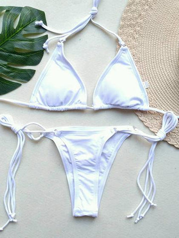 Instant Vacation Bandage Tie Solid Color Bikini Set