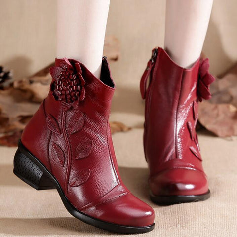 Women's Boots Mother Folk Style Winter Ankle Boots Vintage Women Genuine Leather Boots