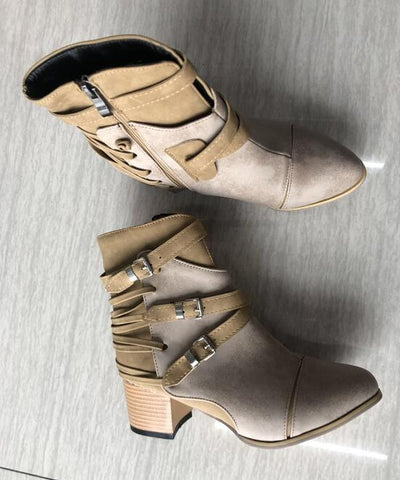 Vintage Women Boots Round head simple Low Heel Ankle Boots