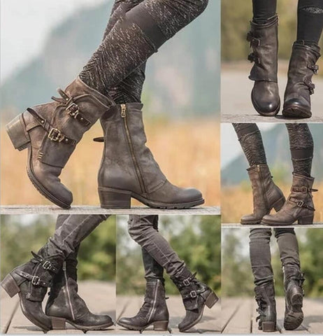 Women Ankle Boots Vintage PU Leather Warm Shoes Woman Chunky Mid Heels Boots