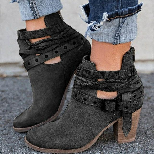 Vintage Ankle Boots Women Mid Heels Fashion Buckle Strap Punk Red Black Woman Boots