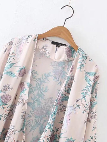 In Stock Floral-Print Bugle Long Sleeve Lace-Up Cover-Ups