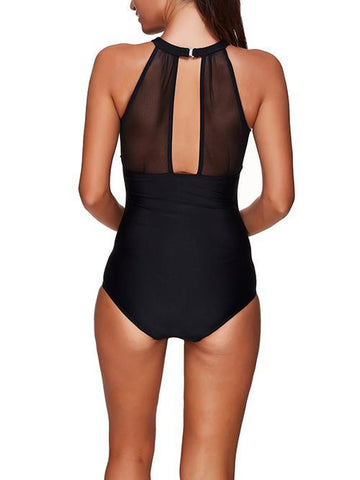 Deep Plunging Black Sex Mesh One Piece Swimsuit