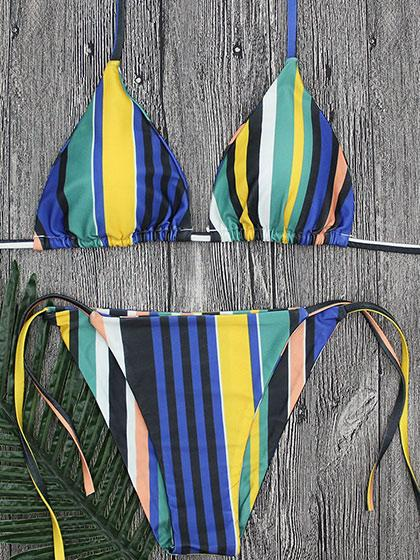 Chic Lady bandage Striped Bikini Set