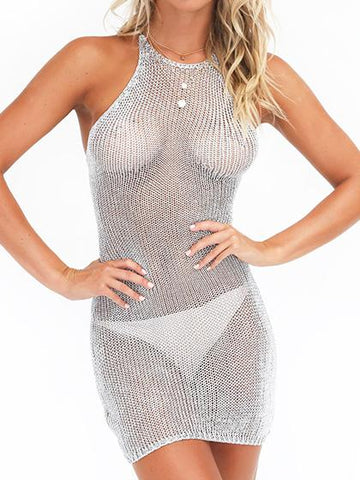 Twinking Sexy Mesh Solid Color Bikini Dress Cover Up