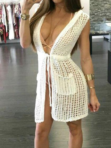 Hooded Tie Waist Mesh Beach Cover Up