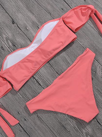 Give Me A Chance Bandage Solid Color Bikini Set