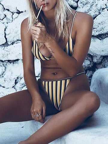 HOT BEACH Yellow & Black Striped Bikini Set