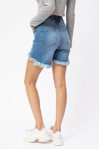 High Rise High-Low Denim Shorts