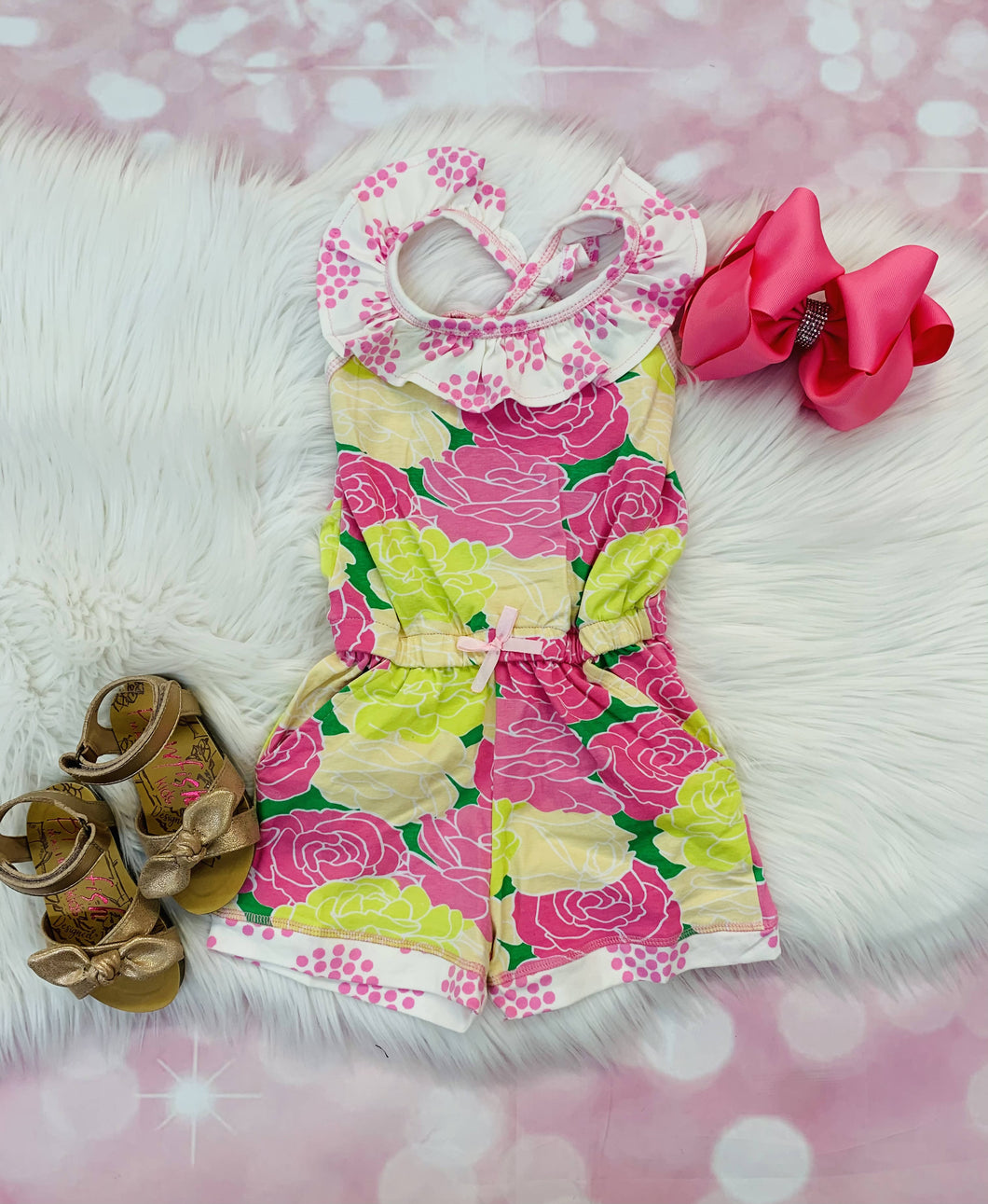 Lizzy Pink Yellow Floral Romper